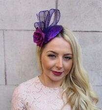 Violet Purple Sequin Feather Rose Flower Pillbox Hat Fascinator Hair Clip 4464