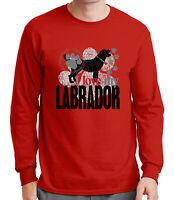 I love my LABRADOR Mens Long Sleeve Tshirt Happy Energetic Dog Tee - 1746C
