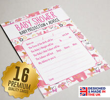 Baby Shower Prediction & Advice Game 16 A6 Party Cards - Pink Watercolour Design