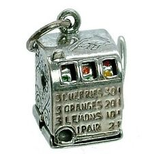 VINTAGE SILVER MOVING FRUIT/SLOT MACHINE CHARM