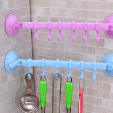 6 Hooks Towel Rack Suction Cup Holder Sucker Hanger Storage For Bathroom Kitchen