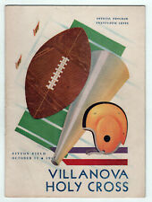 1947 VILLANOVA Holy Cross COLLEGE FOOTABLL PROGRAM NCAA WWII Worcester MASS MA