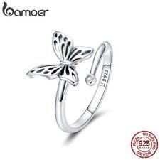 Bamoer Solid S925 Sterling Silver Finger Open Ring Cute Butterfly Women Jewelry