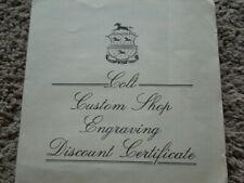 New listing Original Colt Custom Shop Engraving Discount Certificate