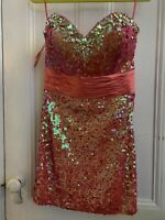 Mori Lee Short Prom Homecoming Dress Coral Pink Size 12 Strapless Sequin