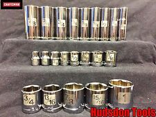 Craftsman 22pc 3/8 Dr Easy to Read SAE Socket Set STD and Deep. 6PT