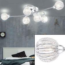 Decken Lampe Leuchte Chrom Strahler Kugel Acryl Kristalle klar Küche Beleuchtung
