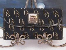 Dooney & Bourke Black DB Shadow Signature Jacquard Fabric Leather Wallet NICE!