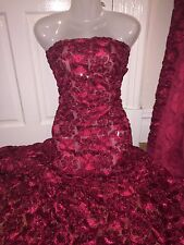 "1 MTR RED 3D RUFFLE LACE/NET FABRIC 58"" WIDE 2015 BRAND NEW STOCK FOR ONLY £6.99"