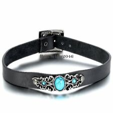 Retro Floral Oval Manmade Turquoise Black Leather Buckle Collar Choker Necklace