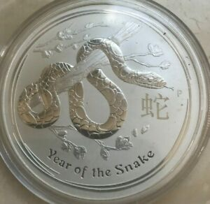 2013 Australia 2 Dollars 2 Oz .999 Silver Round - Lunar Year of the Snake