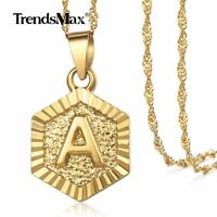 Women Men Hexagon Gold Filled Initial Necklace Letter A-Z Pendant Jewelry 18inch
