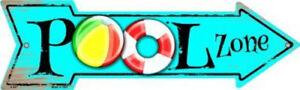 "Pool Zone Directional Metal Arrow Sign 17"" x 5"" ↔ Recreation Swimming Fun Decor"