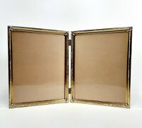 Metal Picture Frame Gold Double Photo  8  x 10 Table Top Embossed Art Deco Vntg