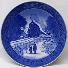 Royal Copenhagen 1973 Blue Christmas Plate GOING HOME FOR CHRISTMAS TRAIN BOX