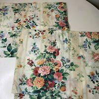Vintage Croscill Curtain Valance Set Pair 2 panels color cream red orange roses