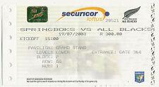 Afrique du sud/nouvelle-zélande 19 juillet 2003 pretoria rugby billet