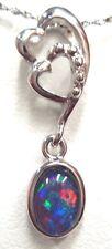 FREE JEWELLERY BOX!!!Australian Natural Black Triplet Opal Pendant Solid Silver