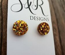 Gold Holographic Glitter Circle Stud Earrings Stainless Steel Earrings