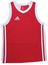 adidas Boys Sports Vest Y Commander J Basketball Jersey Athletic 5y up to 16y Red/white Stripe 9-10 Years / 140cm