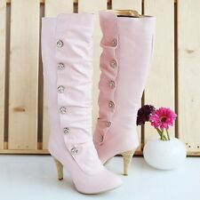 New Ladies High Stilettos Heels Thigh Boots Knee High Slouched Pull on Shoes
