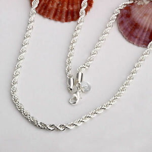Top Quality 3mm Silver Twisted Rope Chain Necklace Fashion Plated Bracelet UK