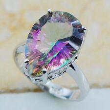 Women 925 Silver Rainbow Topaz Gemstone Rings Wedding Bridal Party Ring Jewelry