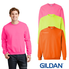 Gildan MEN'S LADIES SWEATSHIRT CASUAL NEON FLUORESCENT SAFETY COLOURS 80s PARTY