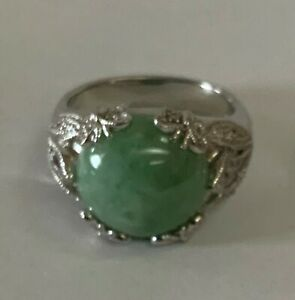 Affinity Sterling Silver Green Jade Diamond Butterfly Ring Size 10