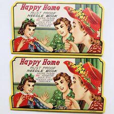 Vintage Happy Home Rust Proof Needle Book 100 Needles Threader Lot of 2 1950's