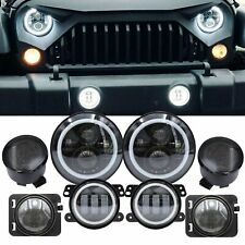"7"" Led Headlight+4"" Fog Light+Turn Signal+Fender Lamp For Jeep Wrangler 07-18 Jk (Fits: Isuzu Trooper)"
