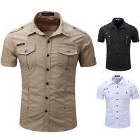 Fashion Mens Military Shirt Classic Double pocket Casual Epaulet Shirt Plus Size