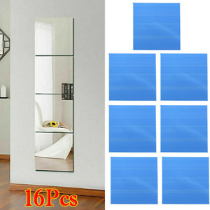 16Pcs Glass Mirror Tiles Wall Sticker Square Self Adhesive Stick On DIY Home