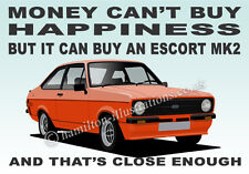 Ford Escort Mk2 RS Mexico 2 Door Art illustration Key Ring **ORANGE**