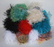 Fun Fir Eyelash Yarn 9 Skeins White Black Red Turquoise Off-White Multicolor