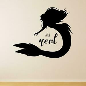 Mermaids Are Real Wall Sticker Decal Quote Fairytale Kids Nursery Fantasy Sea UK