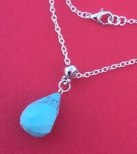 Dyed Howlite Gemstone Faceted Drop Pendant Necklace Turquoise - Aussie Seller!