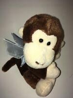 "Dan Dee Brown And White Monkey Wearing A Bow 7"" Plush Stuffed Animal"