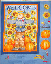 """Autumn Scarecrow Sunflower Welcome Cotton Fabric Springs CP23769 36""""X44"""" Panel"""
