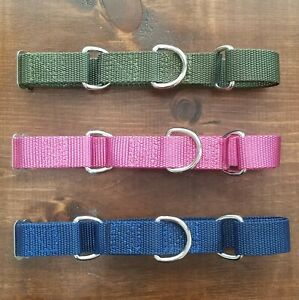 Martingale Dog Collar, Handmade in USA, Olive/Army Green, Medium 14-18 in