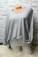 Italy Pulli Pullover Shirt grau 36 38 40 42 blogger kastig Oversized weich NEU