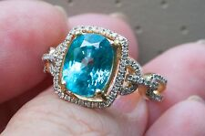 Stunning 14K YG Natural Earth Mined 6.4 ct Blue Zircon and .39 ct Diamond Ring