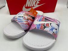 Nike Women's Size 9 Benassi JDI Print 618919-113 White Pink Floral Brand New!