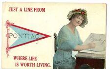 Vintage Postcard Greetings from Pontiac Illinois Livingston County Graymont IL