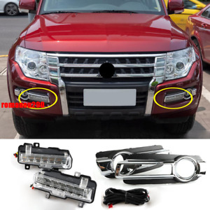 For Mitsubishi Pajero V93 V97 2015-2019 LED Daytime Running Lights w/ Bezel