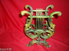 Brass Magazine Rack Stand Music Treble Clef Book Green Patina 11 x 6 inches