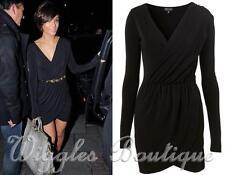 Topshop Patternless V-Neck Long Sleeve Dresses for Women