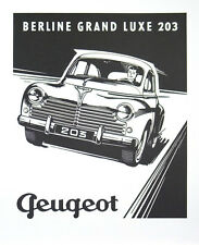 Vintage Poster - PEUGEOT 203 BERLINE Automobile Car Auto Art Print