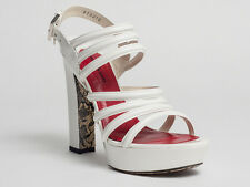 New  Cesare Paciotti White Patent Leather Sandals Size 38  US 8