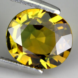 Certificate 3.42 Ct 10x9 Mm Oval Natural Unheated Green Yellow Sapphire Thailand
